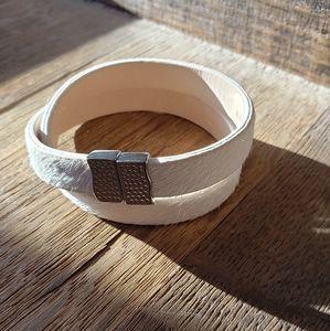 Rustic Cuff Calfskin Double Wrap Bracelet